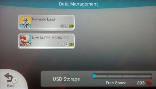 The contents of my Wii U's external drive.